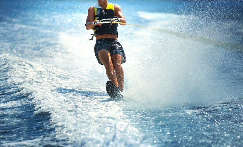 a man doing a wakeboarding